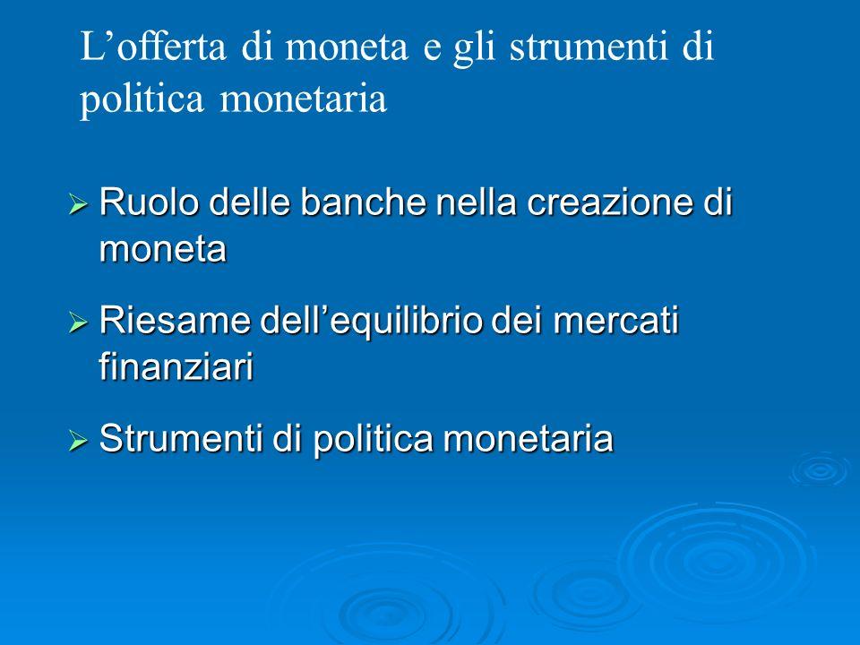 Ruolo delle banche nella creazione di moneta Ruolo delle banche nella creazione di moneta Riesame dellequilibrio dei mercati finanziari Riesame delleq