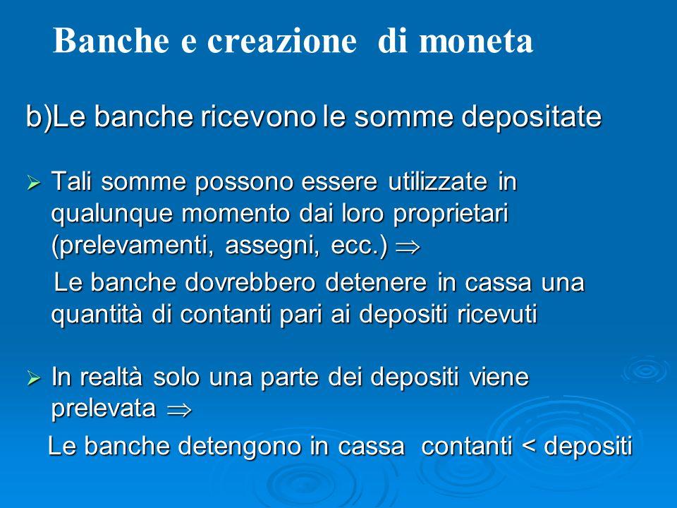 b)Le banche ricevono le somme depositate Tali somme possono essere utilizzate in qualunque momento dai loro proprietari (prelevamenti, assegni, ecc.)
