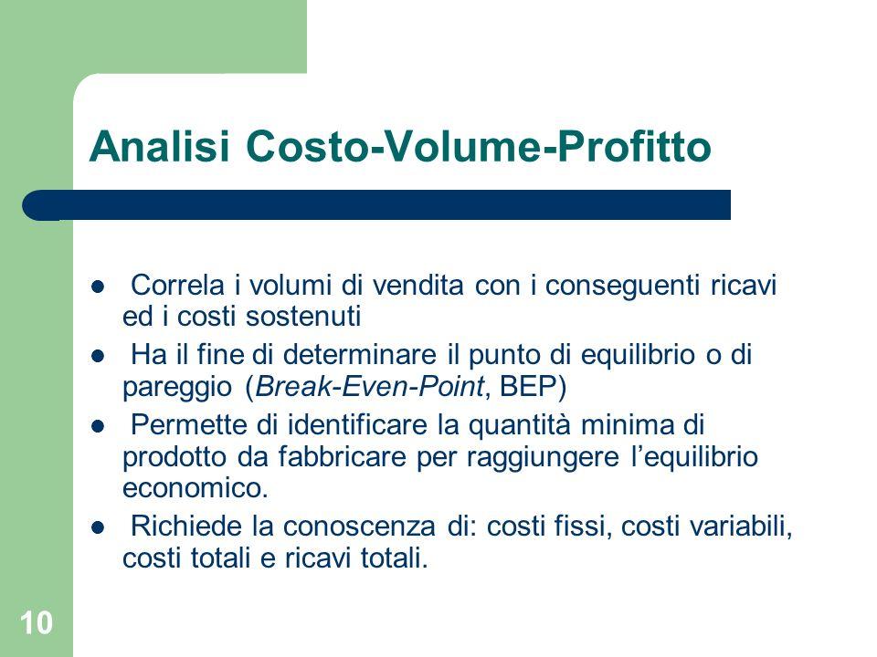 10 Analisi Costo-Volume-Profitto Correla i volumi di vendita con i conseguenti ricavi ed i costi sostenuti Ha il fine di determinare il punto di equil