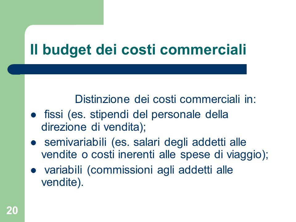 20 Il budget dei costi commerciali Distinzione dei costi commerciali in: fissi (es. stipendi del personale della direzione di vendita); semivariabili