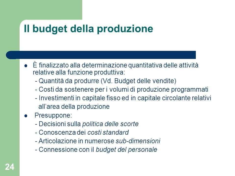 24 Il budget della produzione È finalizzato alla determinazione quantitativa delle attività relative alla funzione produttiva: - Quantità da produrre
