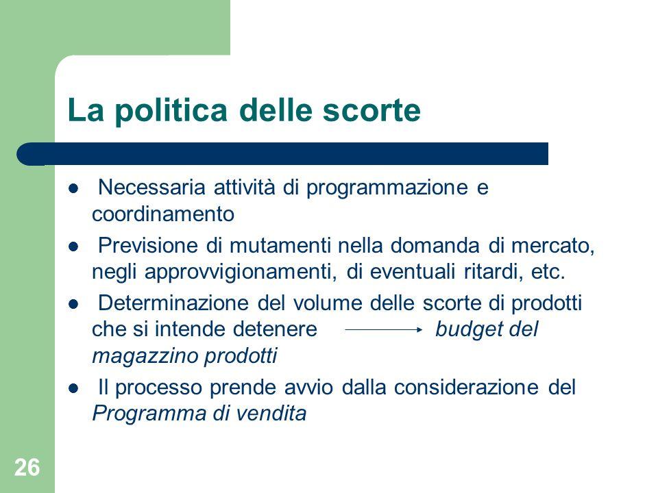26 La politica delle scorte Necessaria attività di programmazione e coordinamento Previsione di mutamenti nella domanda di mercato, negli approvvigion