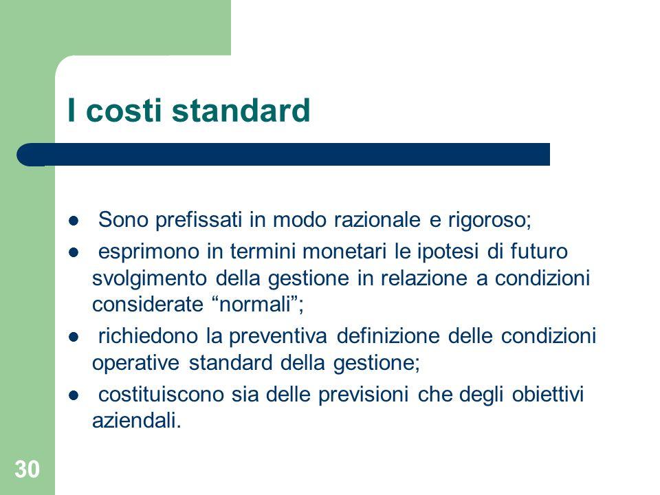 30 I costi standard Sono prefissati in modo razionale e rigoroso; esprimono in termini monetari le ipotesi di futuro svolgimento della gestione in rel