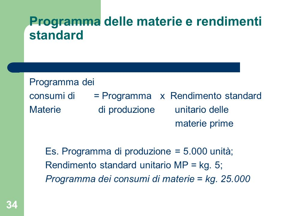 34 Programma delle materie e rendimenti standard Programma dei consumi di = Programma x Rendimento standard Materie di produzione unitario delle mater