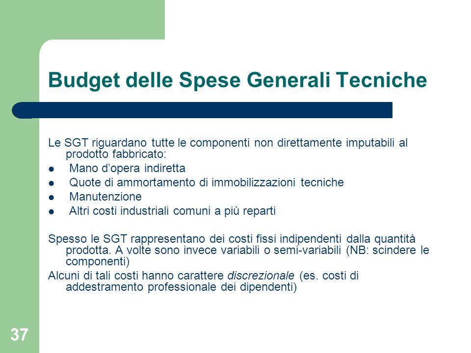 37 Budget delle Spese Generali Tecniche Le SGT riguardano tutte le componenti non direttamente imputabili al prodotto fabbricato: Mano dopera indirett