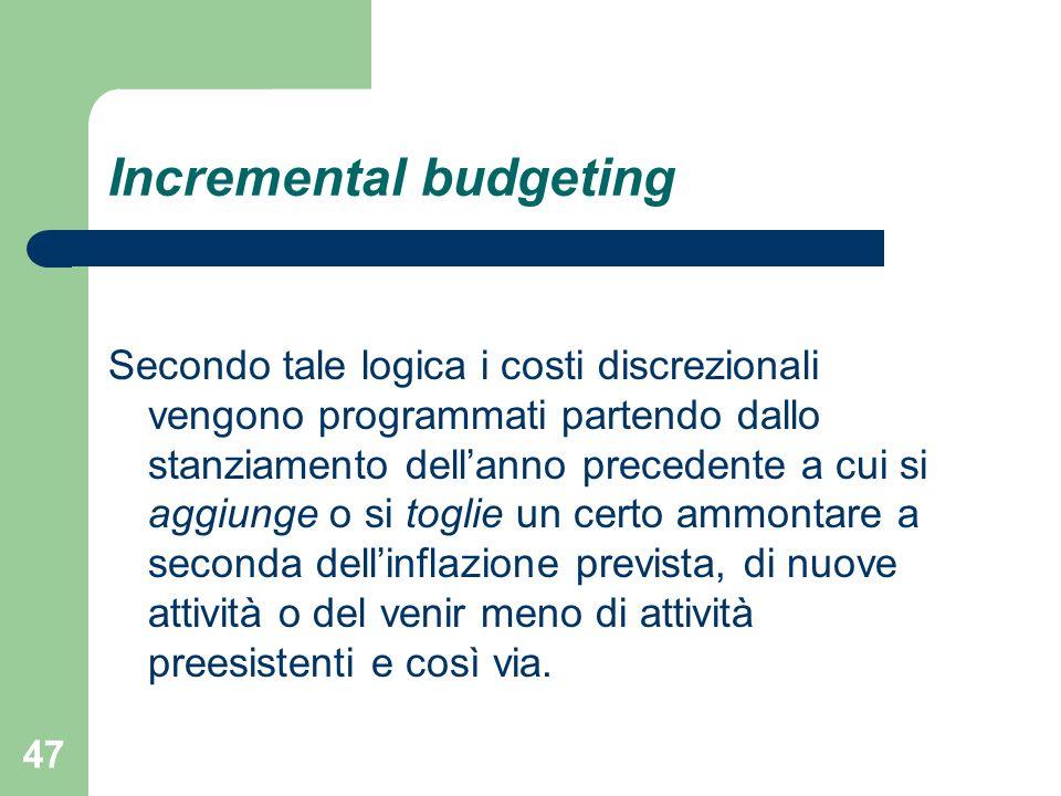 47 Incremental budgeting Secondo tale logica i costi discrezionali vengono programmati partendo dallo stanziamento dellanno precedente a cui si aggiun