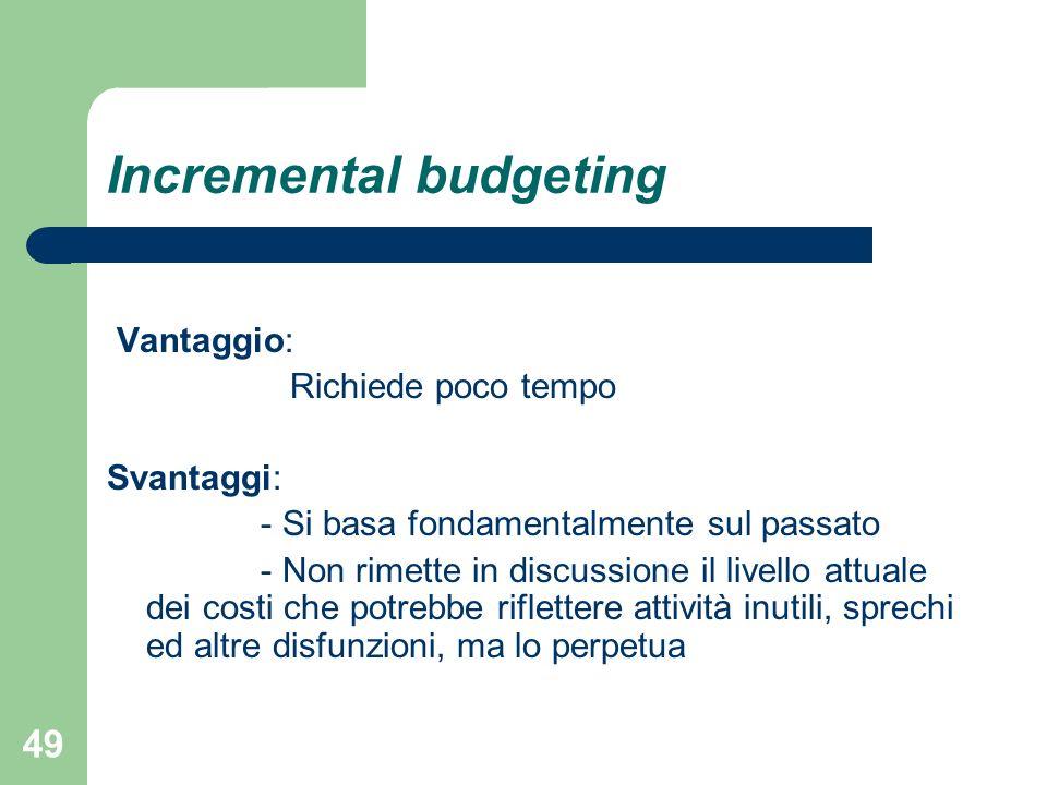 49 Incremental budgeting Vantaggio: Richiede poco tempo Svantaggi: - Si basa fondamentalmente sul passato - Non rimette in discussione il livello attu