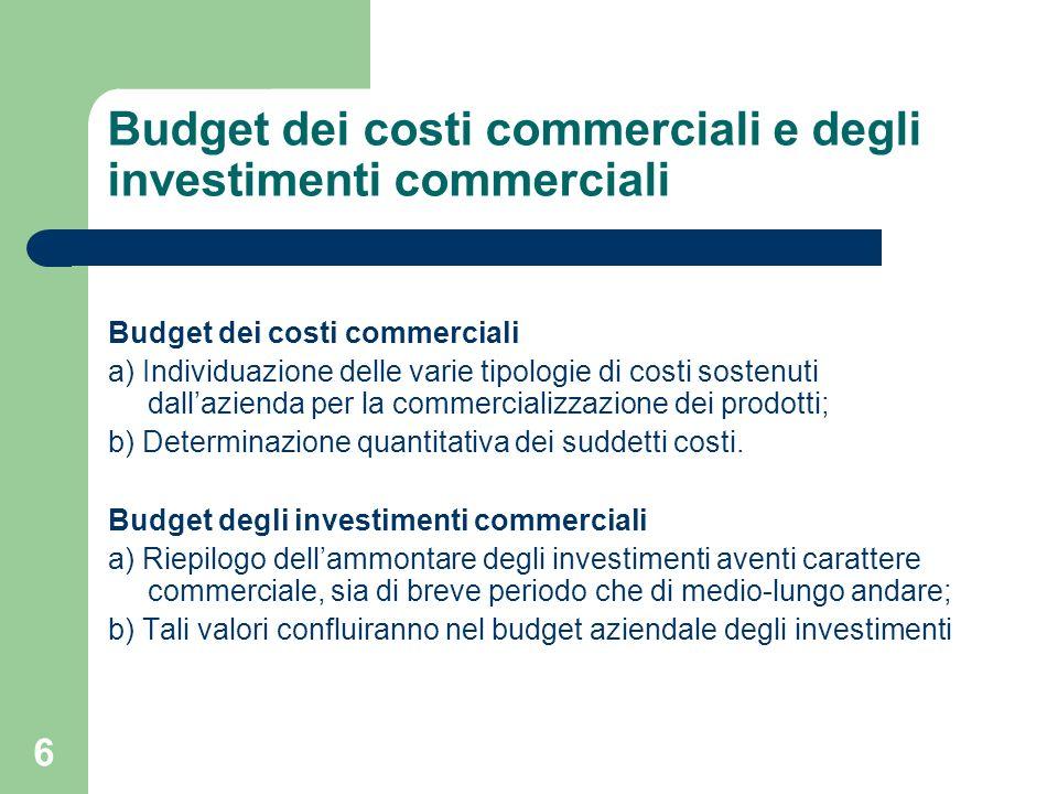 6 Budget dei costi commerciali e degli investimenti commerciali Budget dei costi commerciali a) Individuazione delle varie tipologie di costi sostenut