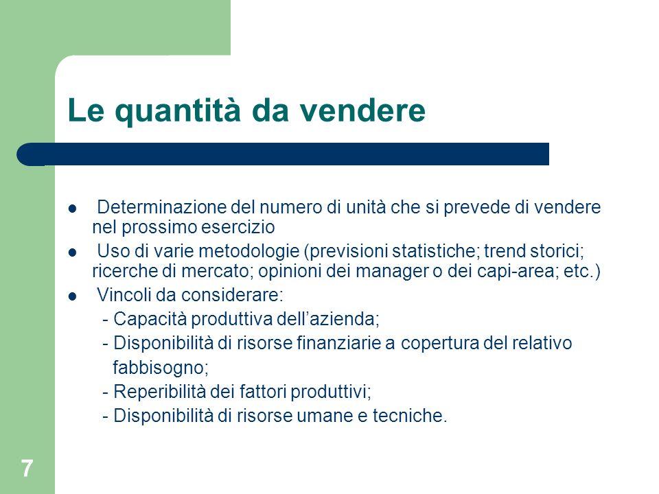 7 Le quantità da vendere Determinazione del numero di unità che si prevede di vendere nel prossimo esercizio Uso di varie metodologie (previsioni stat