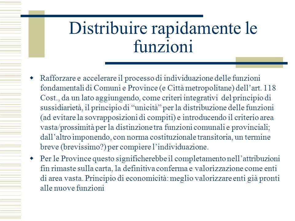 Distribuire rapidamente le funzioni Rafforzare e accelerare il processo di individuazione delle funzioni fondamentali di Comuni e Province (e Città me
