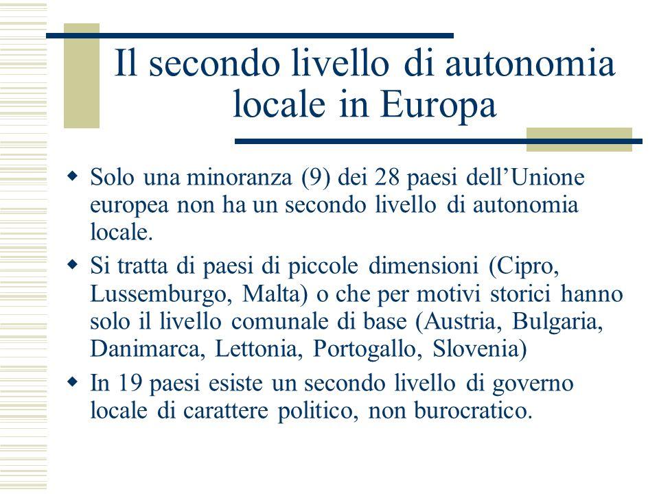 Il secondo livello di autonomia locale in Europa Solo una minoranza (9) dei 28 paesi dellUnione europea non ha un secondo livello di autonomia locale.