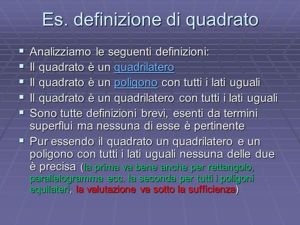 Es. definizione di quadrato Analizziamo le seguenti definizioni: Analizziamo le seguenti definizioni: Il quadrato è un quadrilatero Il quadrato è un q