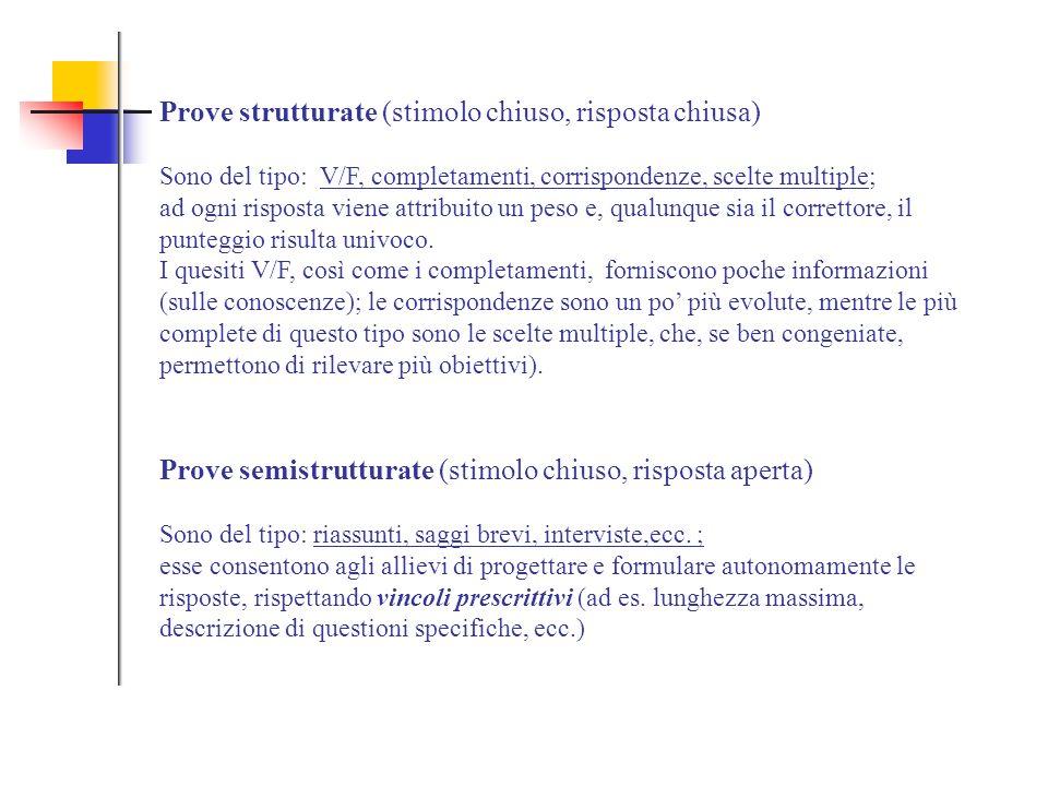 Prove strutturate (stimolo chiuso, risposta chiusa) Sono del tipo: V/F, completamenti, corrispondenze, scelte multiple; ad ogni risposta viene attribu