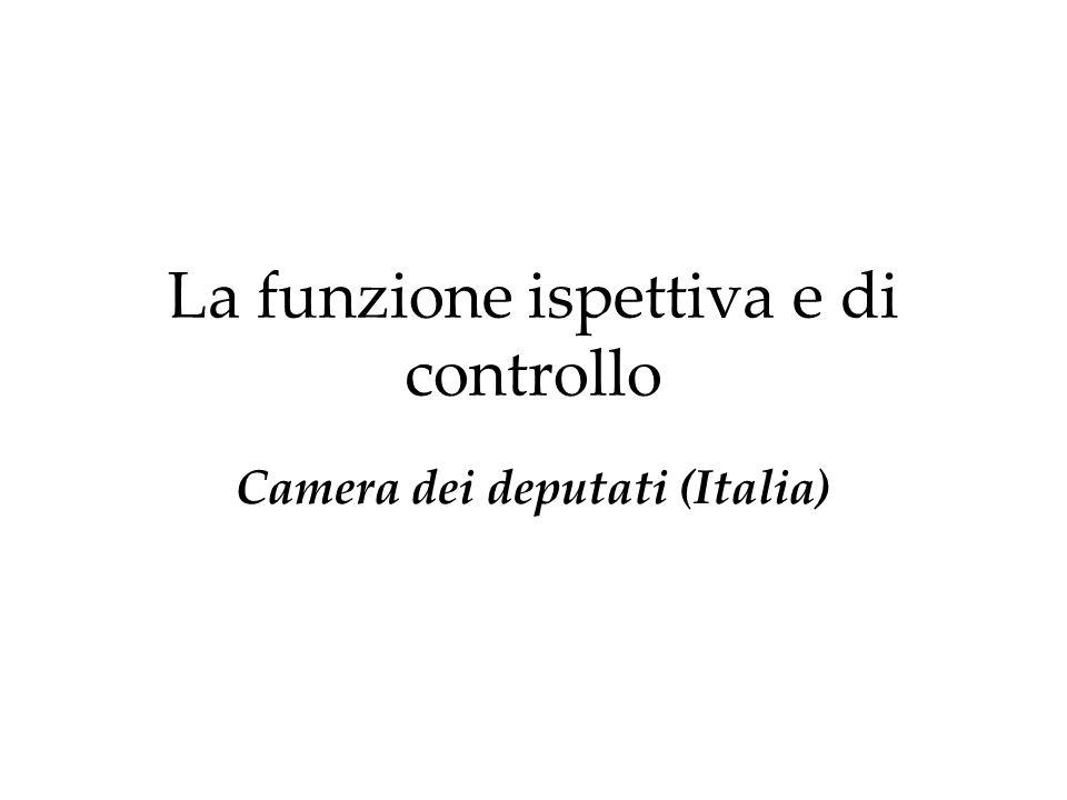La funzione ispettiva e di controllo Camera dei deputati (Italia)