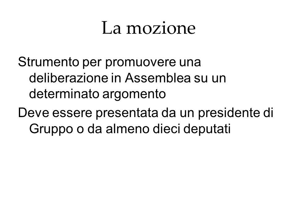 La mozione Strumento per promuovere una deliberazione in Assemblea su un determinato argomento Deve essere presentata da un presidente di Gruppo o da