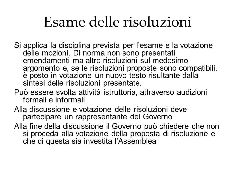 Esame delle risoluzioni Si applica la disciplina prevista per lesame e la votazione delle mozioni. Di norma non sono presentati emendamenti ma altre r
