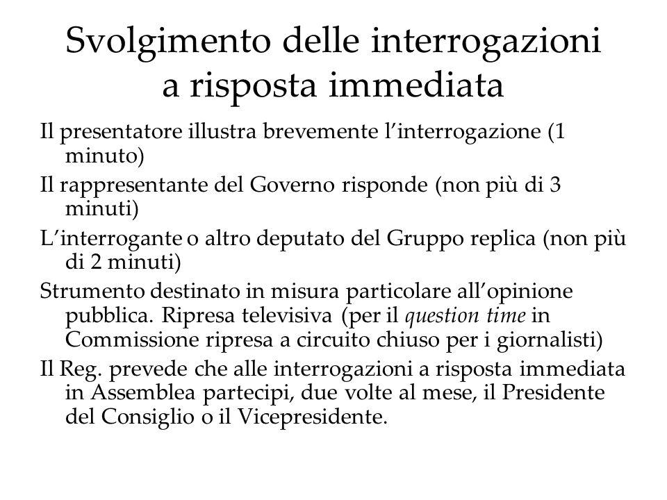 Svolgimento delle interrogazioni a risposta immediata Il presentatore illustra brevemente linterrogazione (1 minuto) Il rappresentante del Governo ris