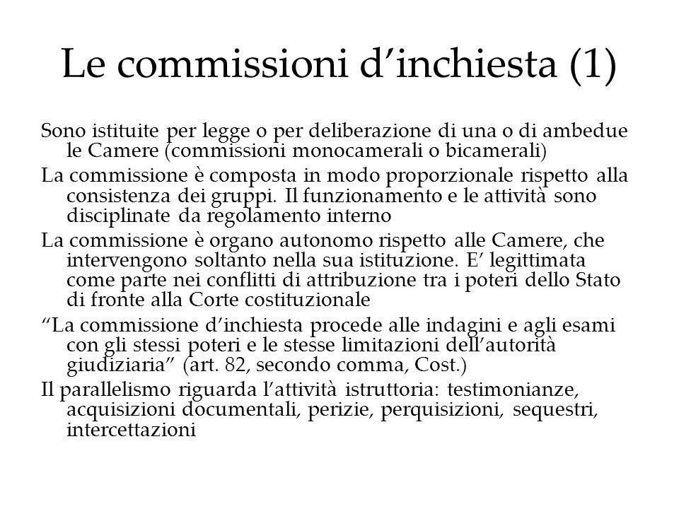 Le commissioni dinchiesta (1) Sono istituite per legge o per deliberazione di una o di ambedue le Camere (commissioni monocamerali o bicamerali) La co