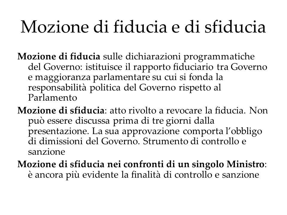 Mozione di fiducia e di sfiducia Mozione di fiducia sulle dichiarazioni programmatiche del Governo: istituisce il rapporto fiduciario tra Governo e ma
