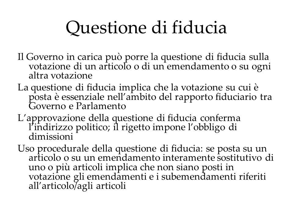 Questione di fiducia Il Governo in carica può porre la questione di fiducia sulla votazione di un articolo o di un emendamento o su ogni altra votazio