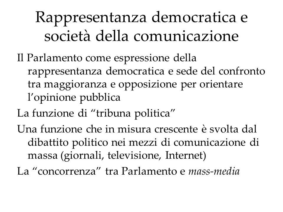 Rappresentanza democratica e società della comunicazione Il Parlamento come espressione della rappresentanza democratica e sede del confronto tra magg
