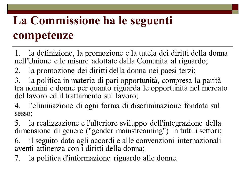 La Commissione ha le seguenti competenze 1. la definizione, la promozione e la tutela dei diritti della donna nell'Unione e le misure adottate dalla C