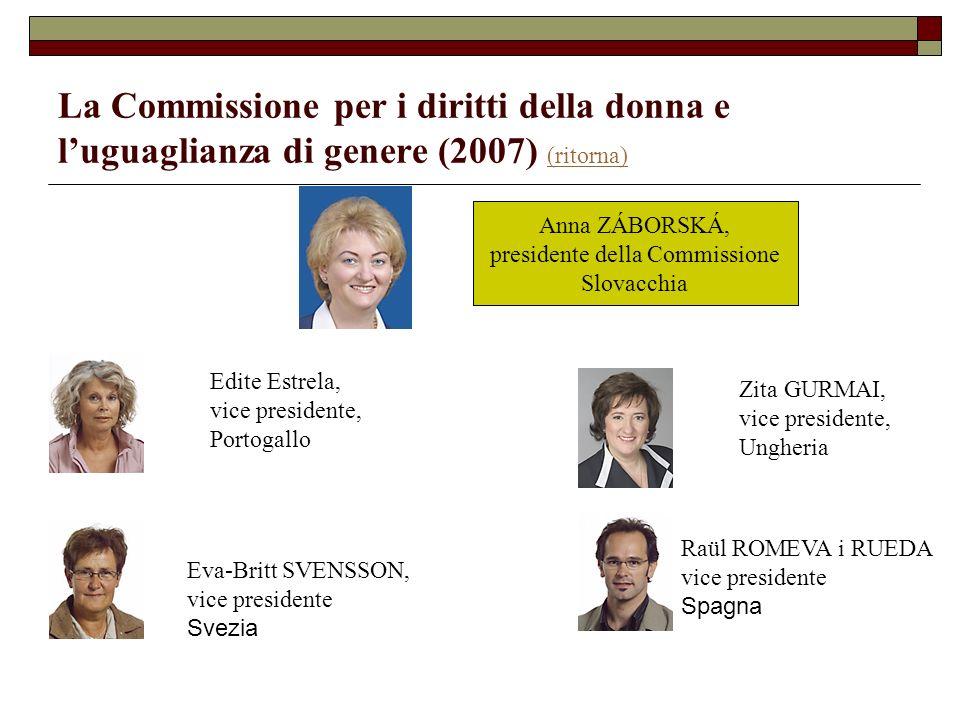 La Commissione per i diritti della donna e luguaglianza di genere (2007) (ritorna) (ritorna) Edite Estrela, vice presidente, Portogallo Eva-Britt SVEN