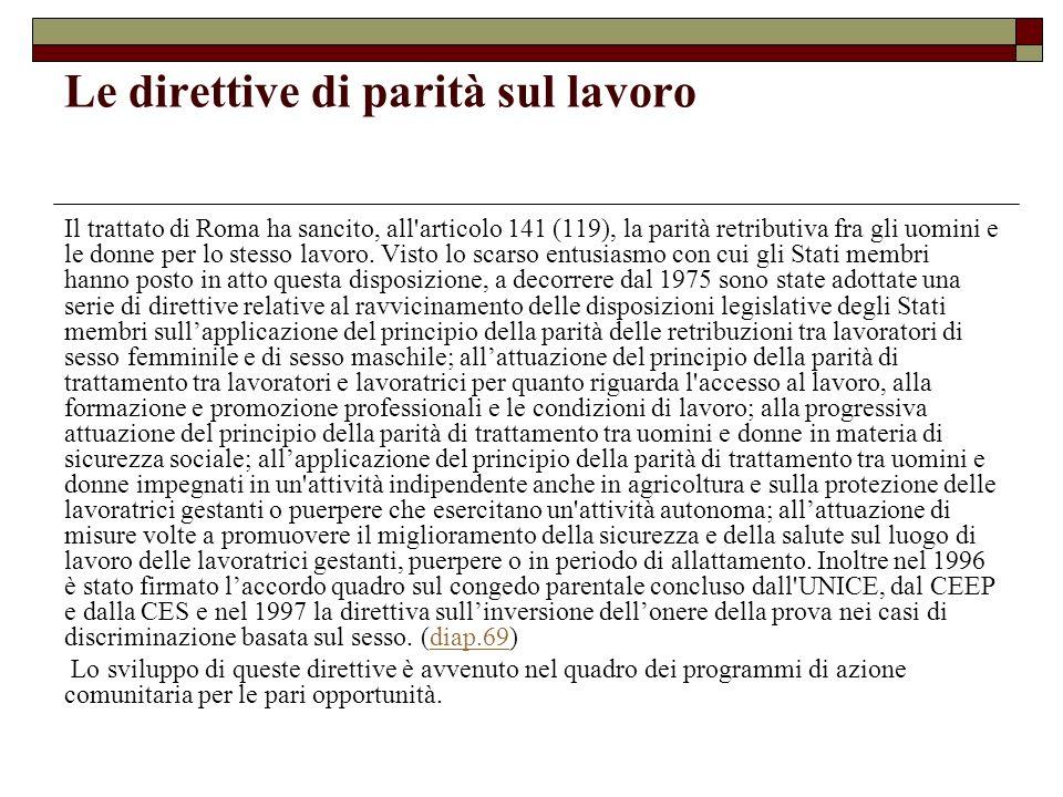 Le direttive di parità sul lavoro Il trattato di Roma ha sancito, all'articolo 141 (119), la parità retributiva fra gli uomini e le donne per lo stess