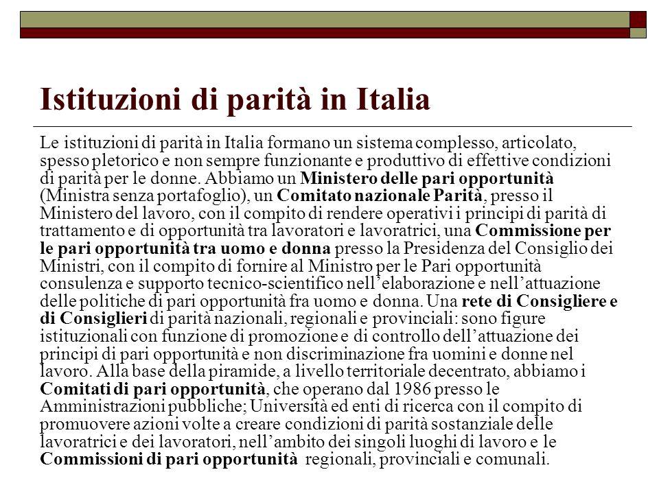 Istituzioni di parità in Italia Le istituzioni di parità in Italia formano un sistema complesso, articolato, spesso pletorico e non sempre funzionante