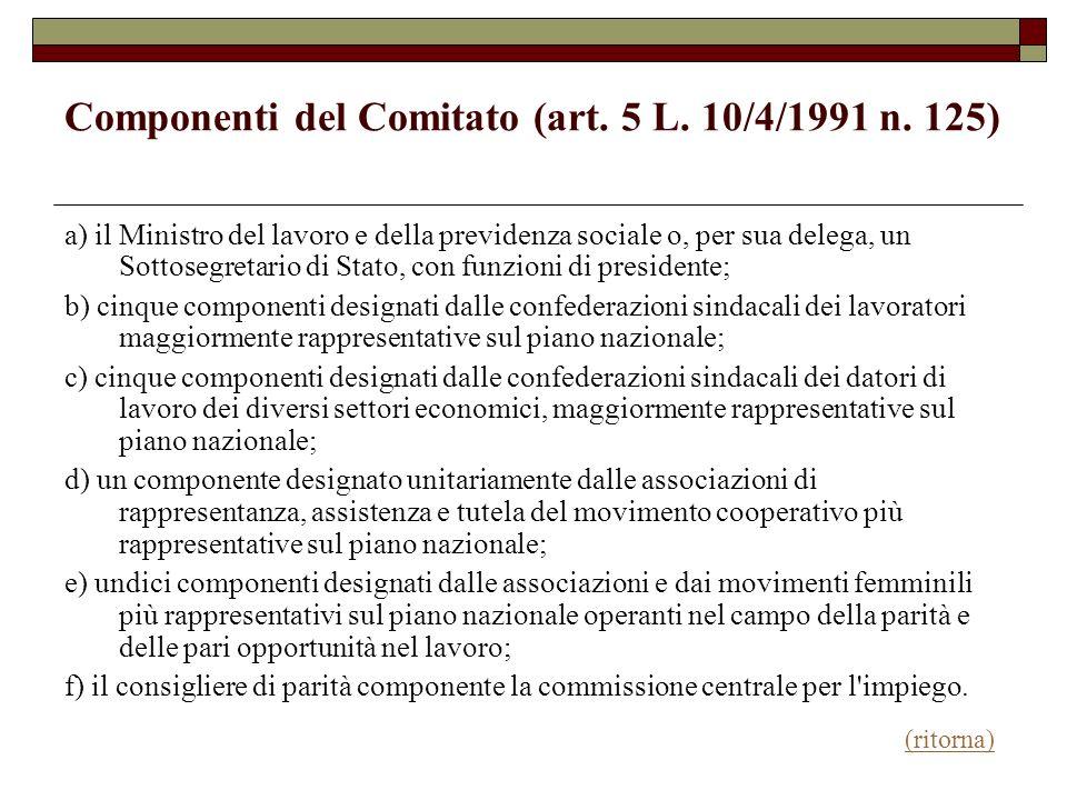 Componenti del Comitato (art. 5 L. 10/4/1991 n. 125) a) il Ministro del lavoro e della previdenza sociale o, per sua delega, un Sottosegretario di Sta