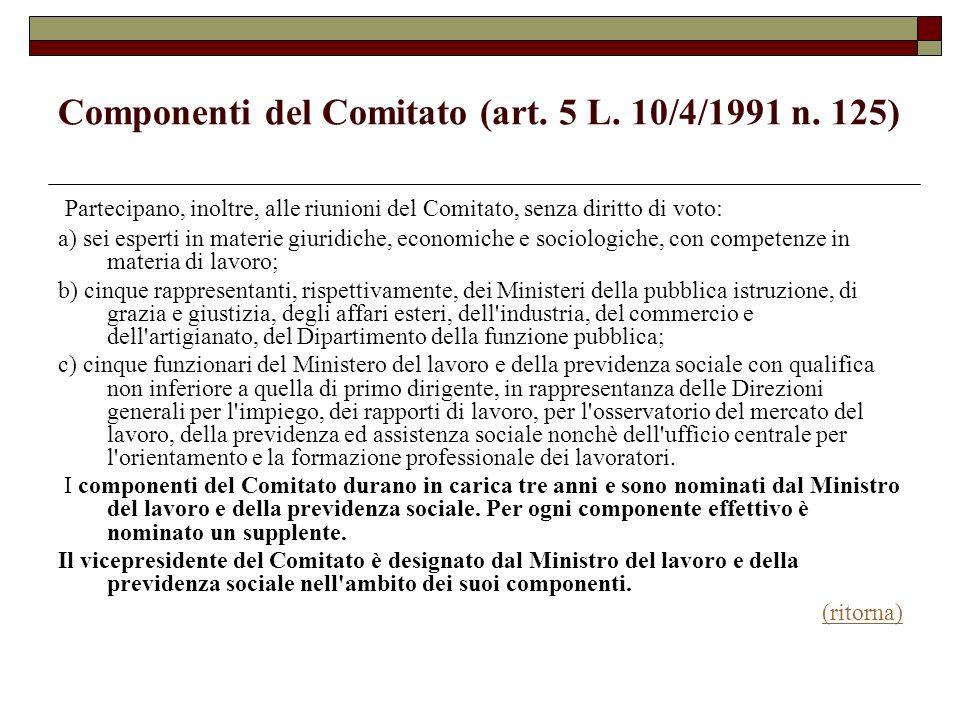 Componenti del Comitato (art. 5 L. 10/4/1991 n. 125) Partecipano, inoltre, alle riunioni del Comitato, senza diritto di voto: a) sei esperti in materi