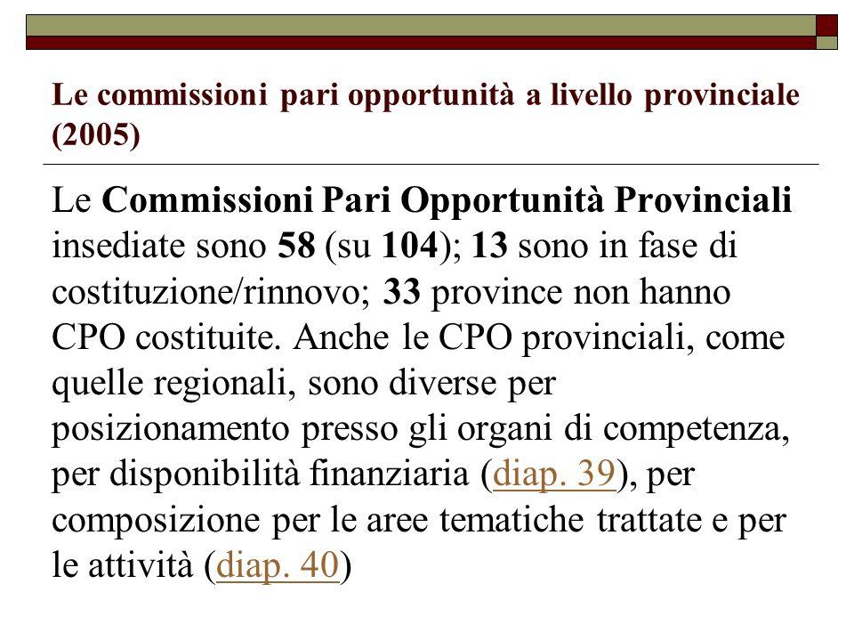 Le commissioni pari opportunità a livello provinciale (2005) Le Commissioni Pari Opportunità Provinciali insediate sono 58 (su 104); 13 sono in fase d