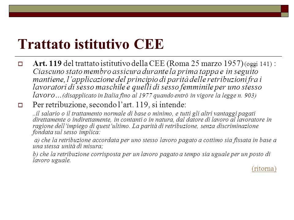 Trattato istitutivo CEE Art. 119 del trattato istitutivo della CEE (Roma 25 marzo 1957) (oggi 141) : Ciascuno stato membro assicura durante la prima t