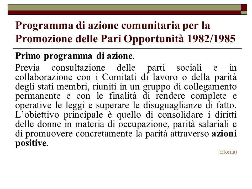 Programma di azione comunitaria per la Promozione delle Pari Opportunità 1982/1985 Primo programma di azione. Previa consultazione delle parti sociali