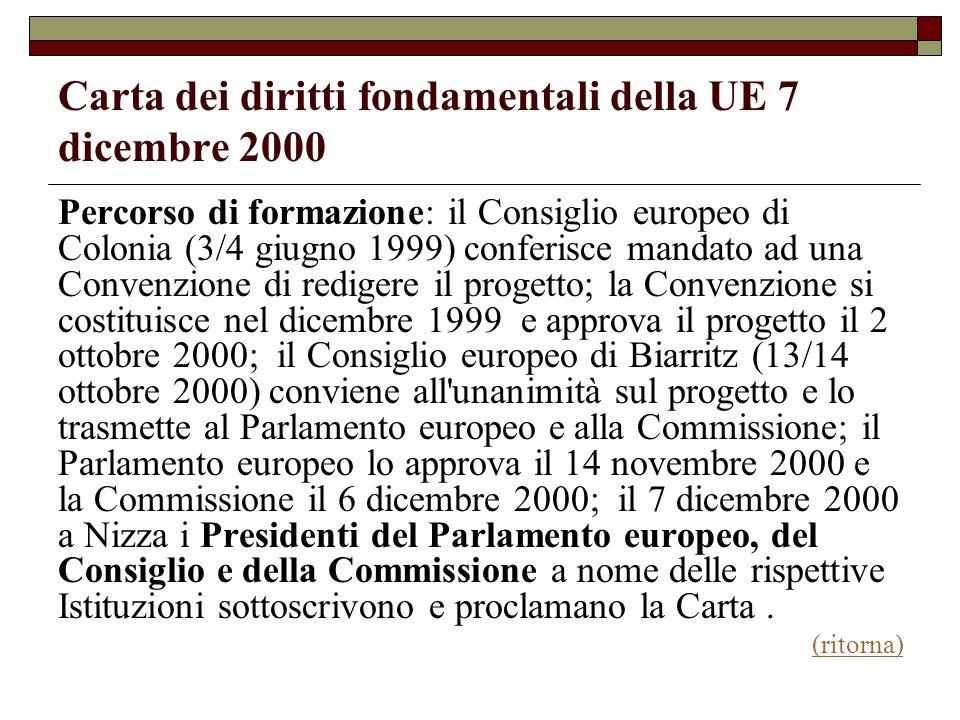 Carta dei diritti fondamentali della UE 7 dicembre 2000 Percorso di formazione: il Consiglio europeo di Colonia (3/4 giugno 1999) conferisce mandato a