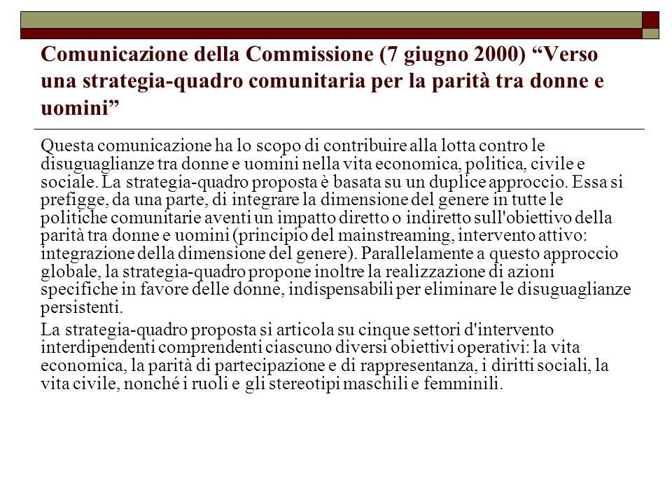 Comunicazione della Commissione (7 giugno 2000) Verso una strategia-quadro comunitaria per la parità tra donne e uomini Questa comunicazione ha lo sco