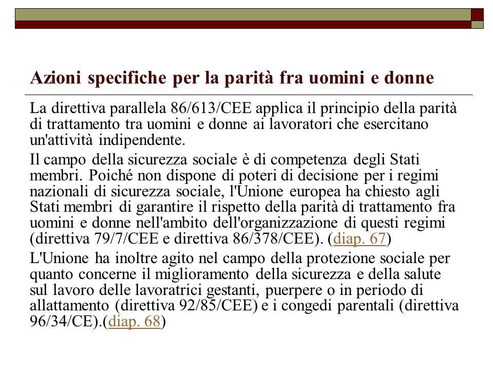 Azioni specifiche per la parità fra uomini e donne La direttiva parallela 86/613/CEE applica il principio della parità di trattamento tra uomini e don