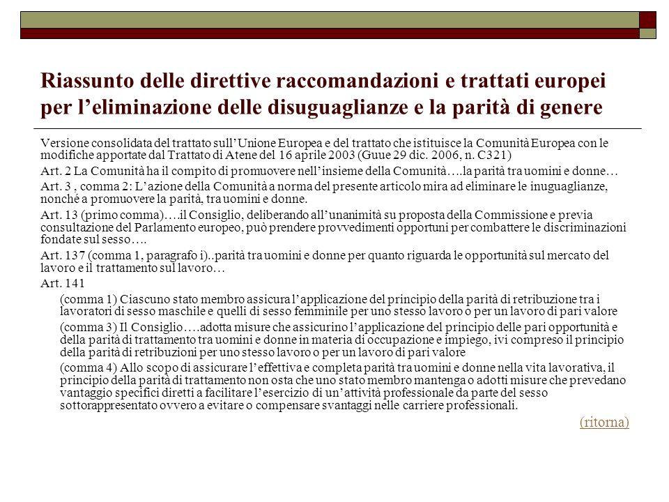 Riassunto delle direttive raccomandazioni e trattati europei per leliminazione delle disuguaglianze e la parità di genere Versione consolidata del tra