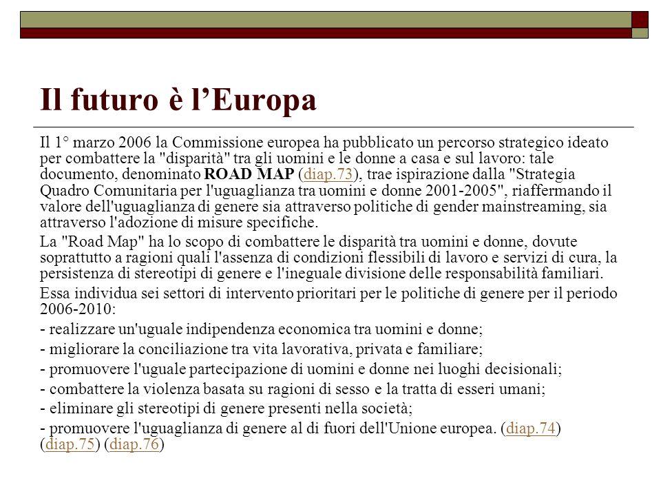 Il futuro è lEuropa Il 1° marzo 2006 la Commissione europea ha pubblicato un percorso strategico ideato per combattere la