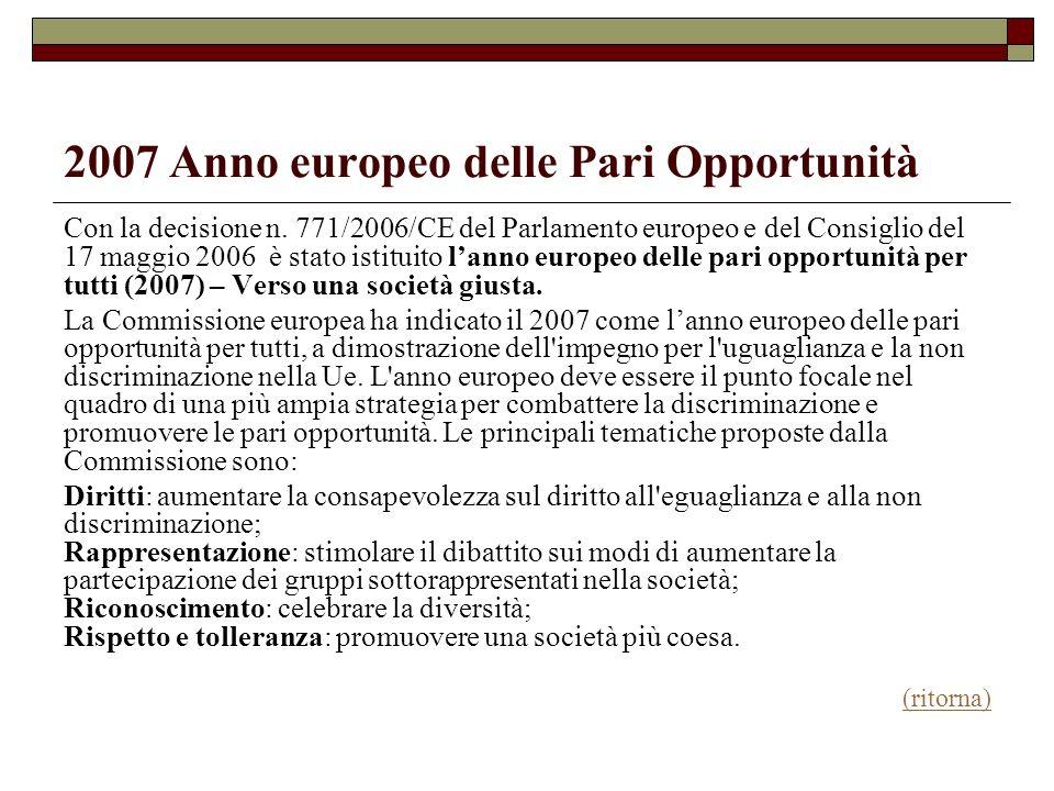 2007 Anno europeo delle Pari Opportunità Con la decisione n. 771/2006/CE del Parlamento europeo e del Consiglio del 17 maggio 2006 è stato istituito l