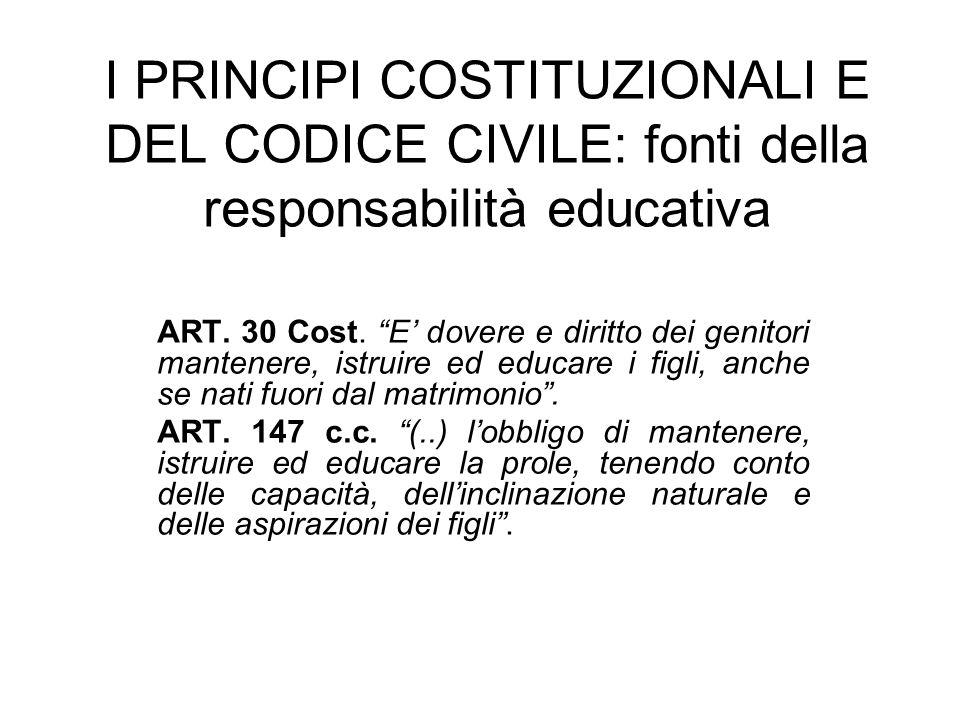 I PRINCIPI COSTITUZIONALI E DEL CODICE CIVILE: fonti della responsabilità educativa ART. 30 Cost. E dovere e diritto dei genitori mantenere, istruire