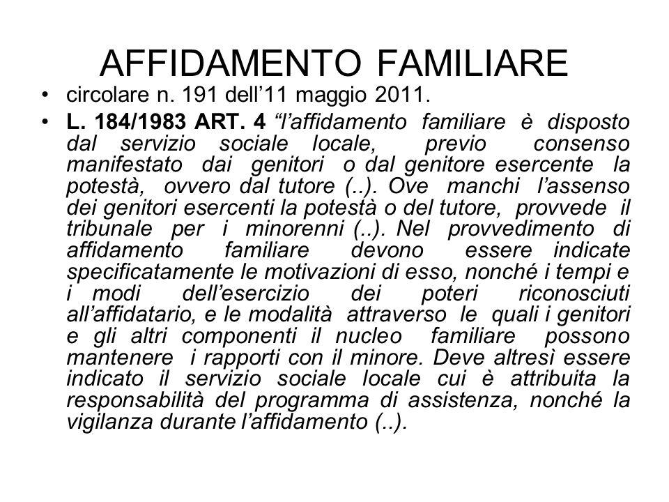 AFFIDAMENTO FAMILIARE circolare n. 191 dell11 maggio 2011. L. 184/1983 ART. 4 laffidamento familiare è disposto dal servizio sociale locale, previo co