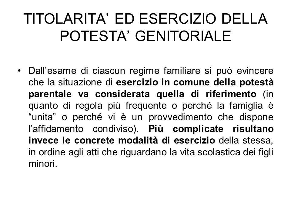 TITOLARITA ED ESERCIZIO DELLA POTESTA GENITORIALE Dallesame di ciascun regime familiare si può evincere che la situazione di esercizio in comune della