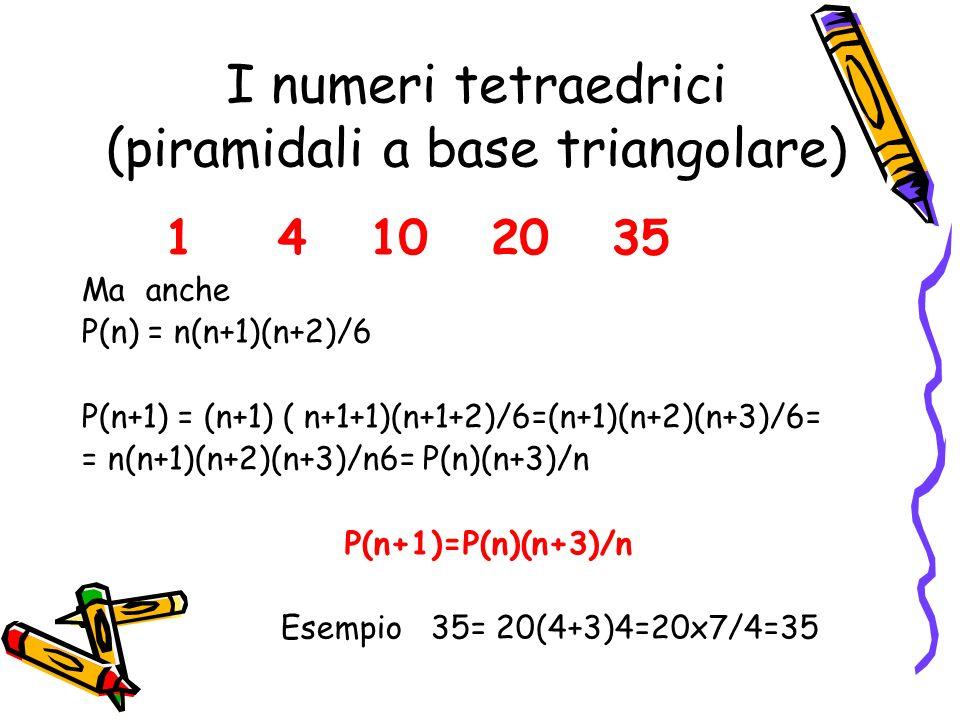 I numeri tetraedrici (piramidali a base triangolare) 1 4 10 20 35 Ottenuti sommando i numeri triangolari 1 3 6 10 15 P(1)=1 P(2)=1+3=4 P(3)=1+3+6=10 P