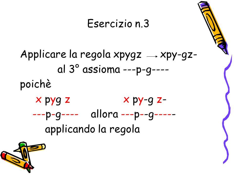 Esercizio n. 2 Scrivere i primi 5 assiomi x p – g x - 1.-p-g-- 2.--p-g--- 3.---p-g---- 4.----p-g----- 5.-----p-g------