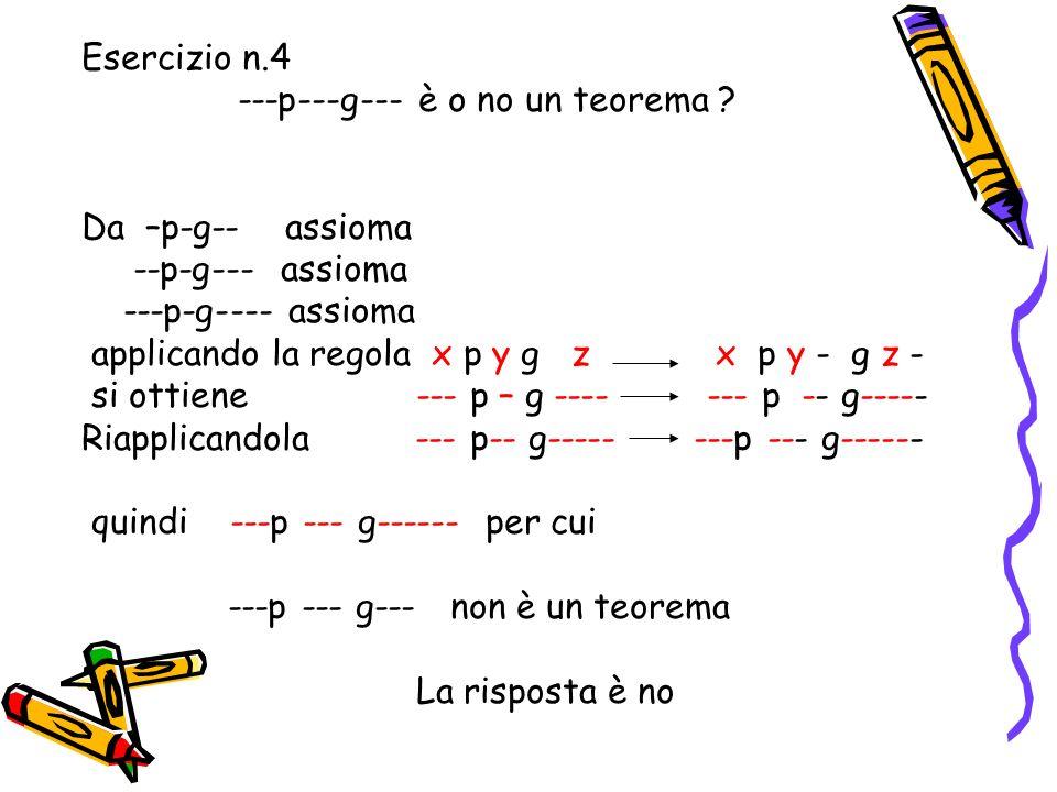 Esercizio n.3 Applicare la regola xpygz xpy-gz- al 3° assioma ---p-g---- poichè x pyg z x py-g z- ---p-g---- allora ---p--g----- applicando la regola