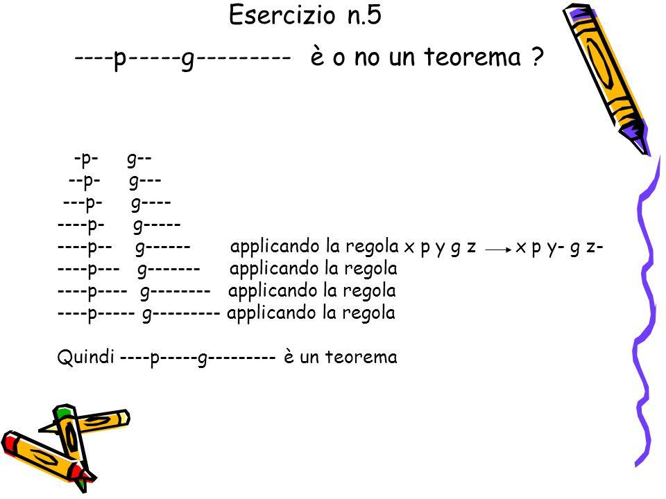 Esercizio n.4 ---p---g--- è o no un teorema ? Da –p-g-- assioma --p-g--- assioma ---p-g---- assioma applicando la regola x p y g z x p y - g z - si ot