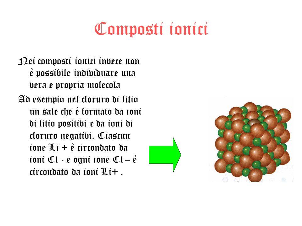 Composti ionici Nei composti ionici invece non è possibile individuare una vera e propria molecola Ad esempio nel cloruro di litio un sale che è forma