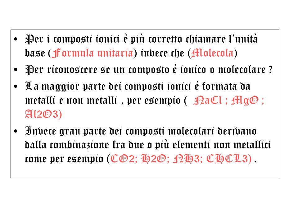 Per i composti ionici è più corretto chiamare lunità base (Formula unitaria) invece che (Molecola) Per riconoscere se un composto è ionico o molecolar