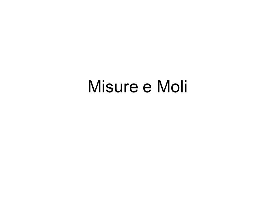 La Mole 1 atomo H PA = 1.008 u 1 mol di H MM = 1.008 gmol -1 6.022x10 23 La Massa Molare di una mole di atomi è uguale al Peso Atomico espresso in grammi (g).